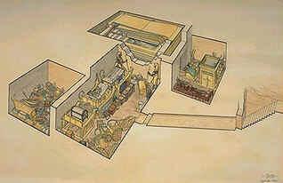 Vista em perspectiva do túmulo de Tutankamon com seu mobiliário funerário (Vale dos Reis)